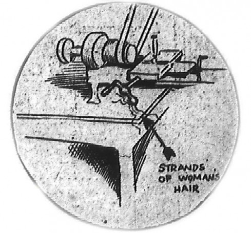 Artist's representation of the hair found on the lathe handle