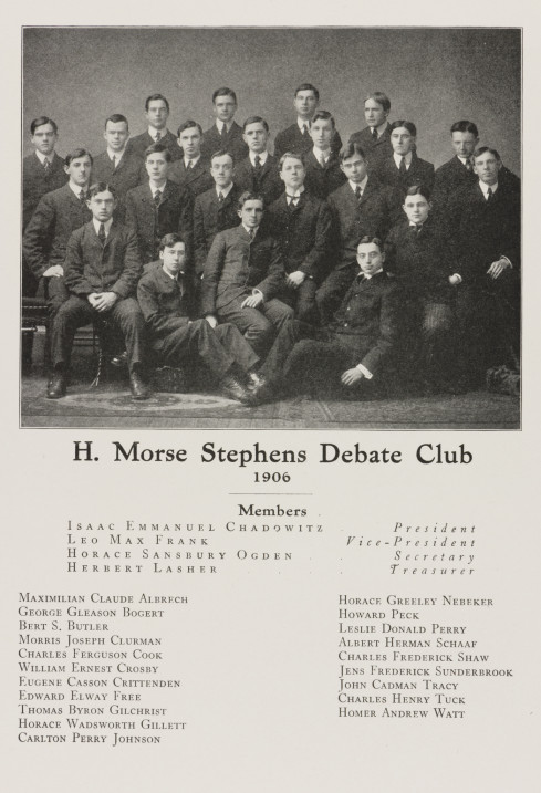 Leo Frank, lower right, Vice President of the H. Morse Stephens Debate Club