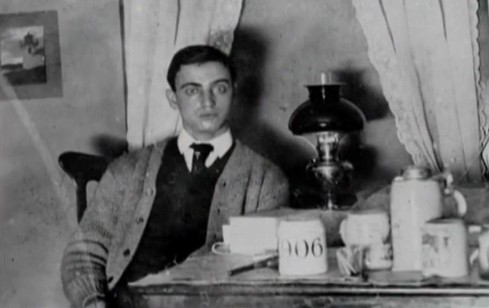In this rare photograph from his days at Cornell University, Leo Frank stares wide-eyed at the camera, a characteristic expression for him.